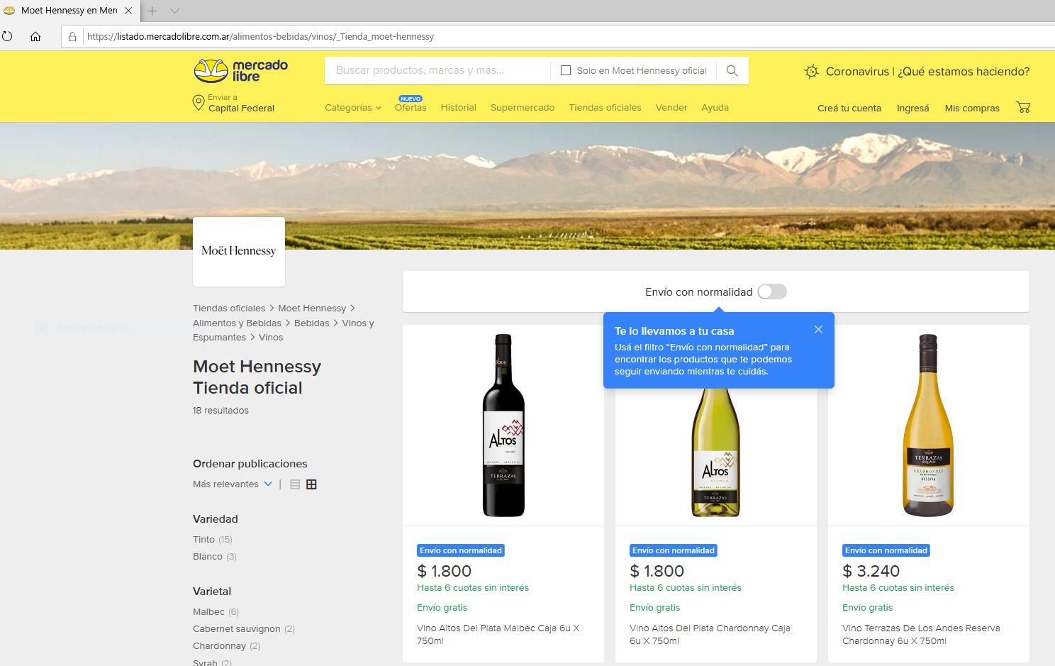 Moët Hennessy Argentina lanza su tienda oficial en Mercado Libre