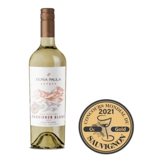 Doña Paula Estate Sauvignon Blanc es el único vino de la Argentina distinguido con Medalla de Oro en el Concours Mondial Du Sauvignon 2021